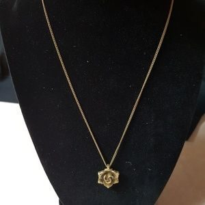 Brass Necklace with Rose Charm